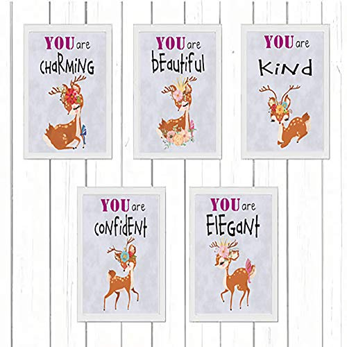 seollx Set of 5 – Cartoon Animal Nursery Wall Art, Sika Deer Animal Prints Wall Decor Paintings for Kid's Room – Canvas Art Wall Prints for Baby Room – (Unframed, 8″X10″)