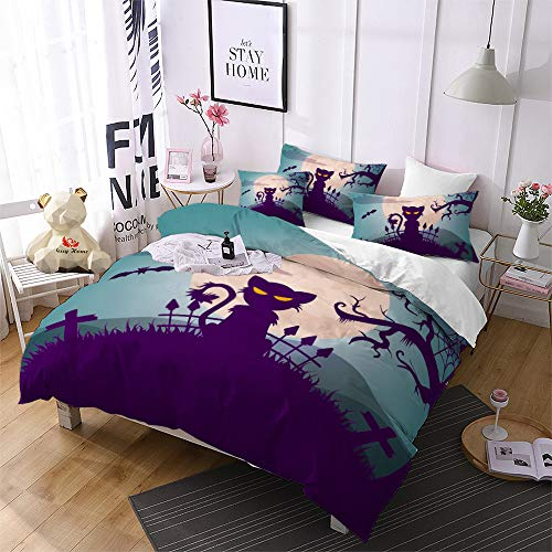 Jessy Home Duvet Cover 2 Piece Twin Size Halloween Cartoon Cat Bedroom Decora Cross Pattern Bedding Set Festival Gift Suitable for Adult Children and Teen Quilt Cover(1 Pillow -