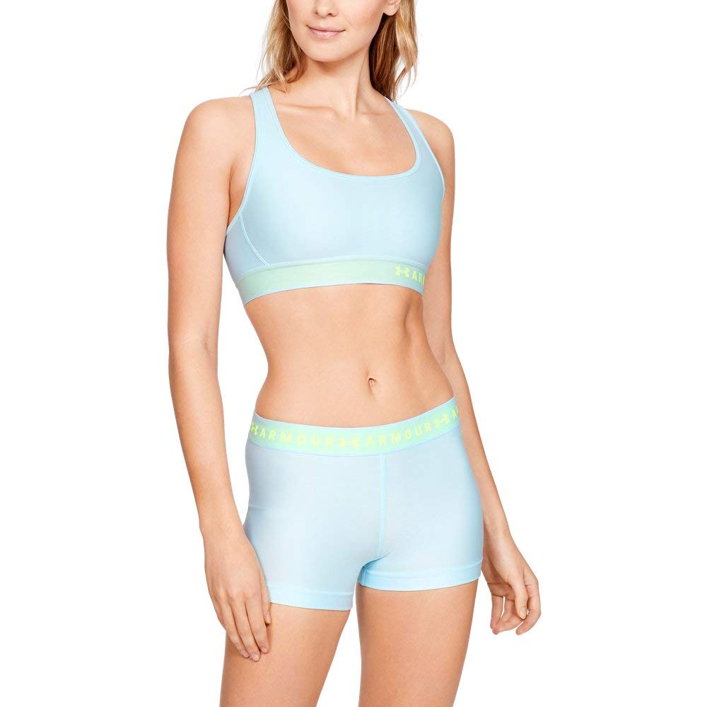 Under Armour Women's Armour Mid Crossback Sports Bra, Coded Blue (451)/High-Vis Yellow, X-Small by Under Armour