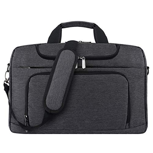 BERTASCHE Laptop Shoulder Bag 17-17.3 inch Water-Resistant Bussiness Messenger Bag for Work College Travel - Grey