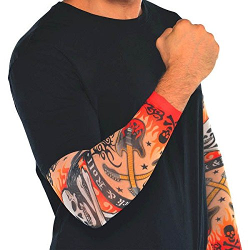 Rock Costume N Roll (Rock On Heavy Metal Themed Party Tattoo Sleeves Accessory, Fabric, Standard Adult Size, Pack of)