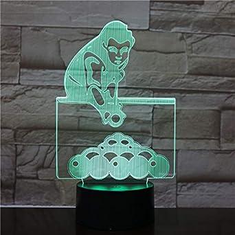 3D Jugar billar LED Acrílico Luz nocturna con control remoto ...