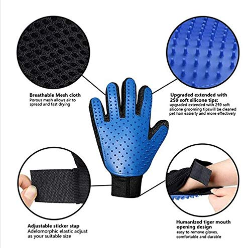 Pet Grooming Gloves Gentle Hair Removal Brush, High Efficiency Pet Hair Remover Five Finger Gloves (1 Pair) for Dogs and Cats Long Hair and Short Hair