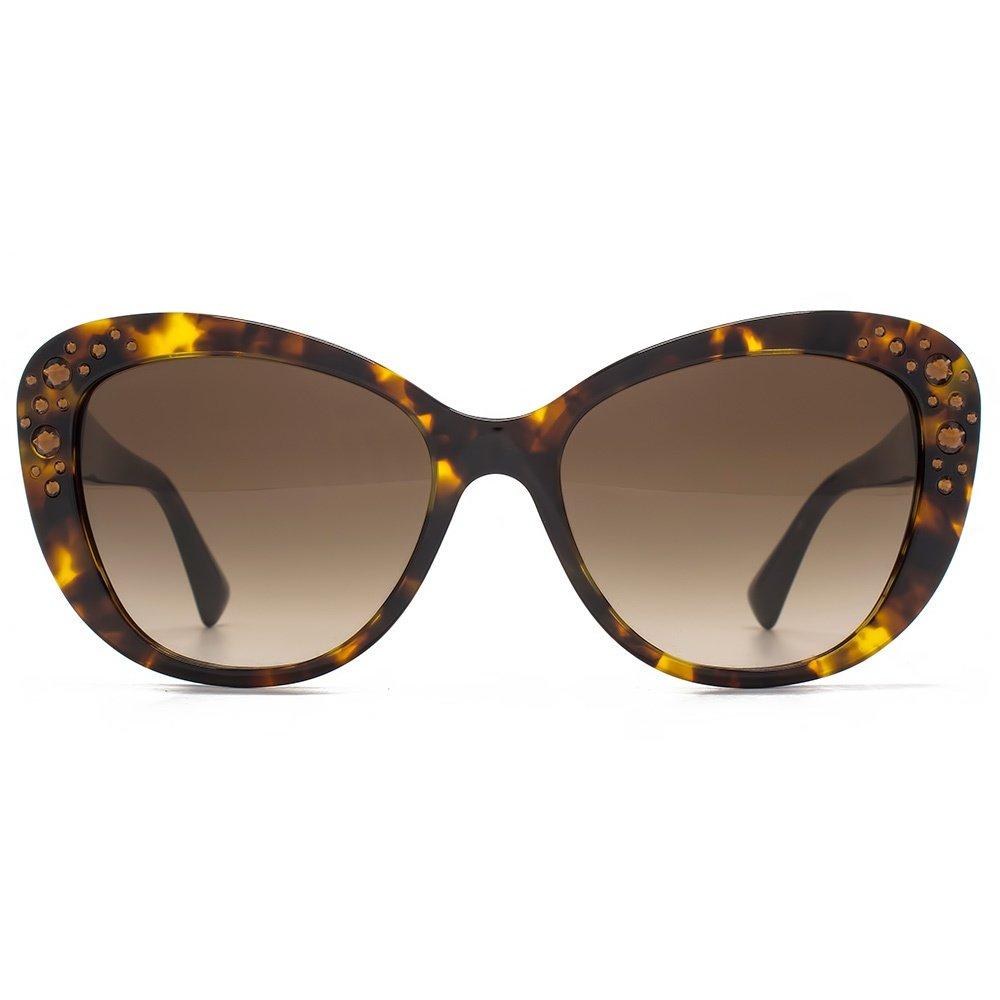 Versace Reich verzierte Cateye Sonnenbrillen in Havanna VE4309B 514813 57 57 Brown Gradient M9Dlgz48Oy