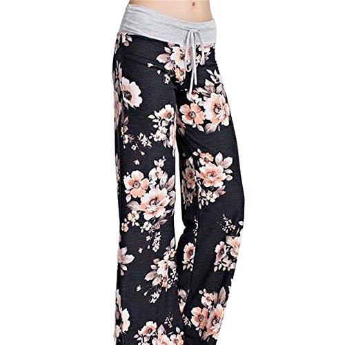 Plus Size Sportswear (Yoga Pyjama Sportswear Pants Minma Women's Rose Printing With Four Colors and Plus Size Wide Legged (XXL, Black2))