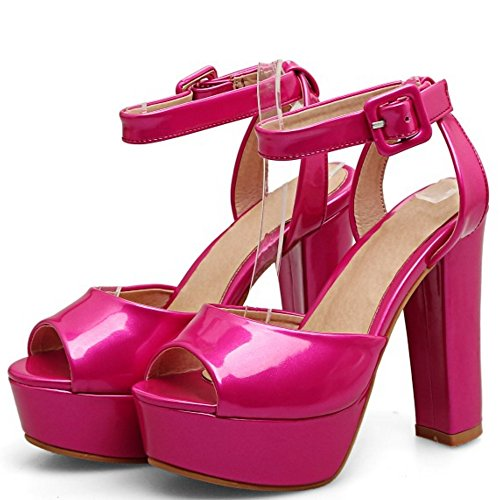 TAOFFEN Mujer Peep Toe Sandalias Occidental Tacon Ancho Tacon Alto Plataforma Al Tobillo Zapatos Rosa Roja