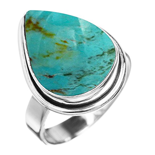 Made Genuine Turquoise Ring (Sterling Silver Jewelry 5.10ctw, Genuine Turquoise 10x14mm Pear & .925 Silver Plated Handmade Fashion Ring (Size-10))