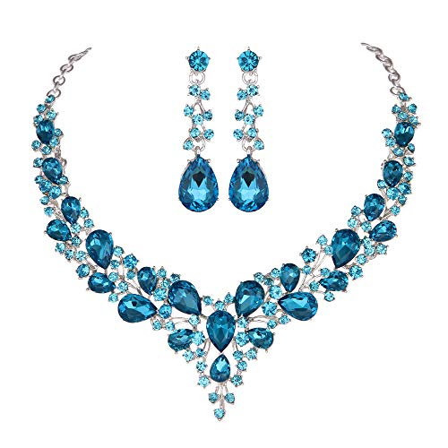 Youfir Bridal Austrian Crystal Necklace and Earrings Jewelry Set Gifts fit with Wedding Dress (Sky Blue) -
