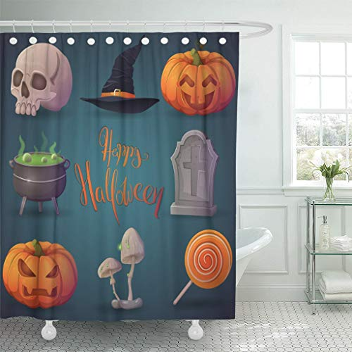 Emvency Fabric Shower Curtain Curtains with Hooks Happy Halloween Terrible Pumpkin Funny Witch's Cauldron Hat Gravestone Lollipop Human Skull 66