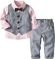 ALLAIBB 3PCS Baby Boy Suit Formal Wear Dress Shirt+Pants+Vest for Wedding Tuxedos Outfit
