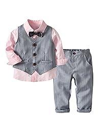 ALLAIBB 3PCS Baby Boy Suit Formal Wear Dress Shirt+Pants+Vest Wedding Tuxedos Outfit