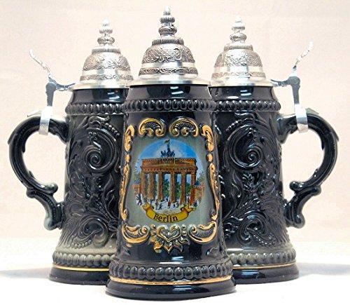 Berlin Brandenburg Gate Black German Beer Stein .25L Made in Germany One Mug New Pinnacle Peak Trading Company