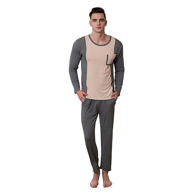 Conjunto de Pijama de Manga Larga - Hombre Classic Long Pajamas Men Service Home Wear Casual Attire: Amazon.es: Ropa y accesorios
