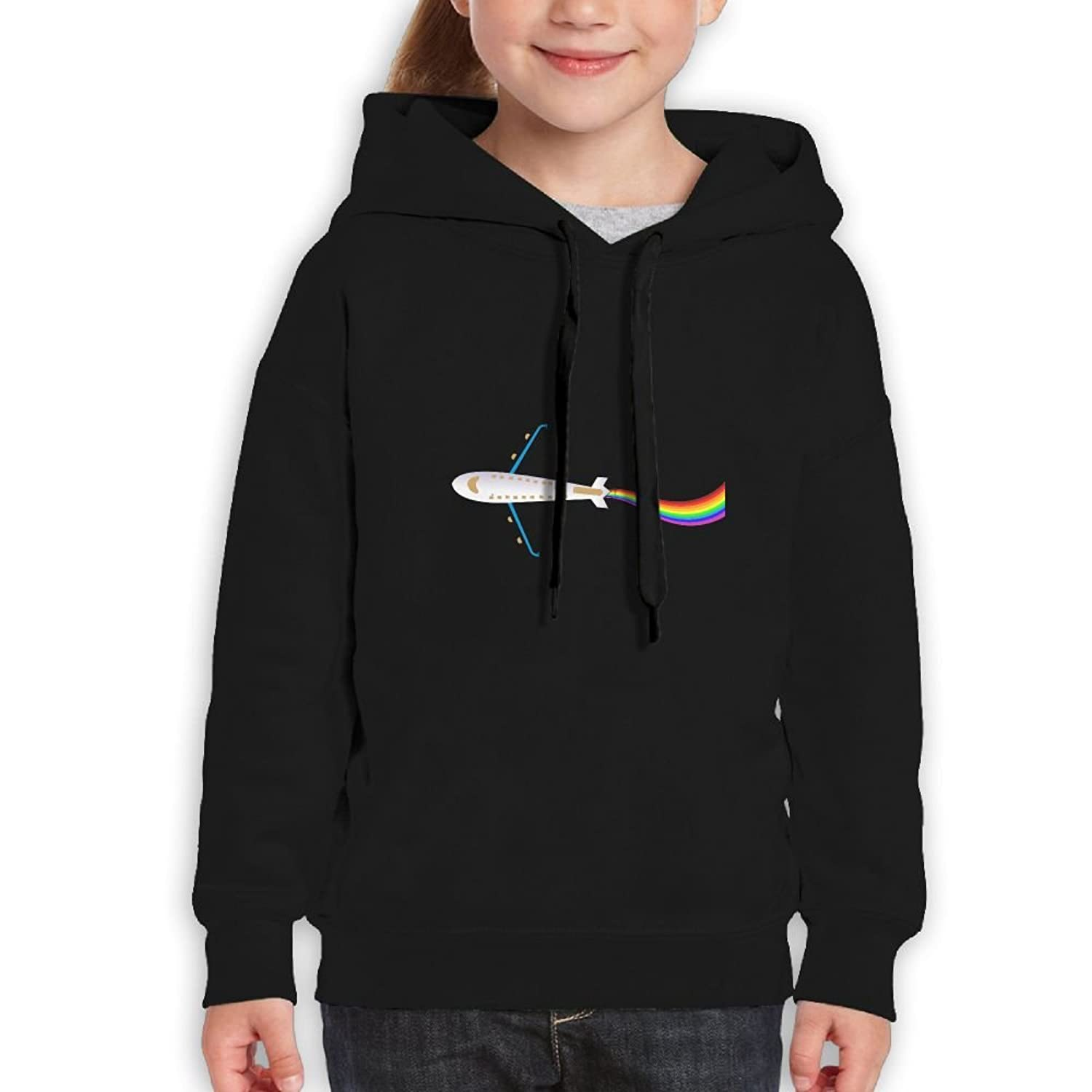 Airplane Rainbow Tail Girls Boys Teens Cotton Long Sleeve Cute Sweatshirt Hoodie Unisex