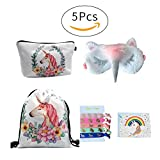 BIZAR 5Pcs Unicorn Drawstring Backpack Bag/Makeup Bag/Sleeping Eye Mask/Hair Ties/Card for Women Girls