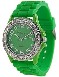 Platinum Women's 6886.Green Green Rubber Quartz Watch with Green Dial
