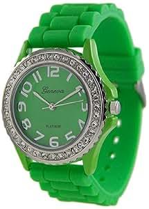 Geneva Platinum Women's 6886.Green Green Rubber Quartz Watch with Green Dial