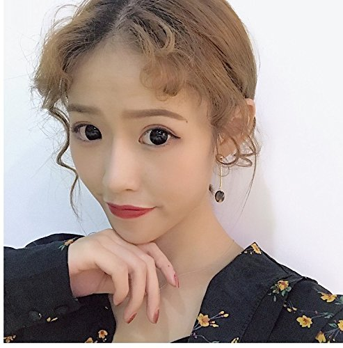 Amber tortoiseshell small round golden caramel color mix and match long stick earrings pierced earrings without ear clip female students ()