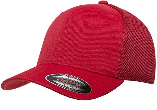Flexfit Men's Ultrafibre Airmesh Fitted Cap | Stretch Fit Ballcap w/Hat Liner Red ()