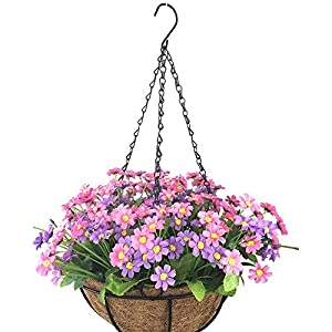 Lopkey Artificial Daisy Fake Flowers Outdoor Indoor Patio Lawn Garden Hanging Basket with Chain Flowerpot,Pink 89
