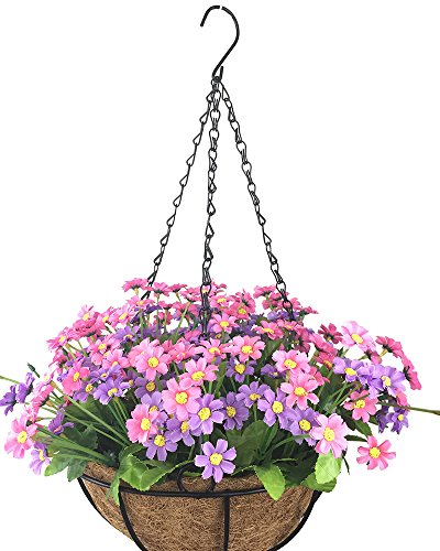 Lopkey Artificial Daisy Fake Flowers Outdoor Indoor Patio Lawn Garden Hanging Basket with Chain Flowerpot,Pink