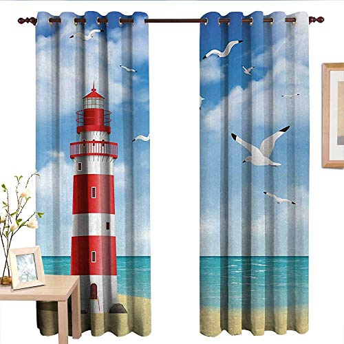 (Window Curtain Fabric Beach,Realistic Illustration Lighthouse on Calm Seashore Flying Seagulls Ocean Scenery,Vermilion Blue.jpg,Rod Pocket Curtain Panels for Bedroom & Living Room 52
