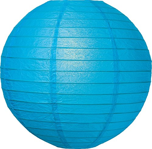 Luna Bazaar Premium Paper Lantern, Lamp Shade (24-Inch, Parallel Style Ribbed, Turquoise Blue) - Rice Paper Chinese/Japanese Hanging Decoration - for Home Decor, Parties, and Weddings