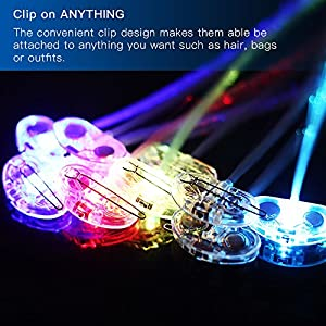 Novelty Place [Party Stars] 14 inch LED Light-Up Optic Fiber Hair Extension with Barrette Party Light Set - Alternating Multicolors (12 Pack)