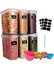 GoMaihe 4 l förvaringsburkar 6 set, förvaringslåda kök lufttät behållare av plast med lock, förvaringsburkar för förvaring av nudlar, müsli, ris, mjöl och för foder husdjur, återanvändbara
