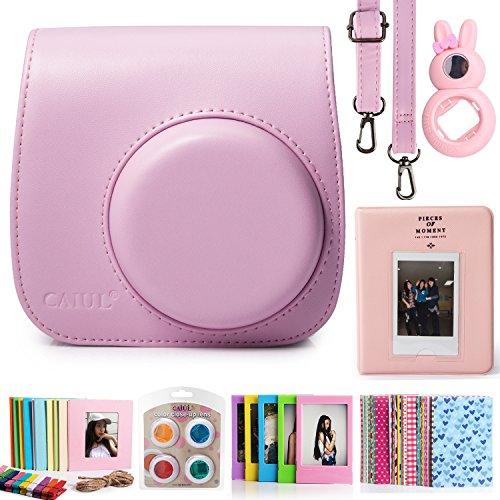 CAIUL Compatible Mini 8 8+ 9 Camera Case Accessories Bundle Kit for Fujifilm Instax Mini 8 8+ 9, Pink (7 Items)