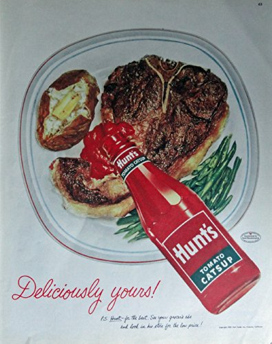 Hunts Tomato Catsup, 50's Print Ad. Color Illustration (putting catsup on steak) Original Vintage 1953 Collier's Magazine Print Art (Ad Hunts Tomato)