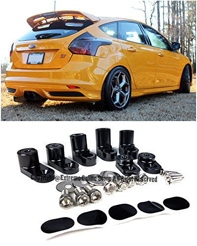 For 13-Up Ford Focus ST / RS 5Dr Hatchback ANODIZED BLACK Rear Wing Spoiler Riser Extender Kit 2013 2014 2015 2016 2017 13 14 15 16 17 Wagon Hatch (Ford Focus Wing)