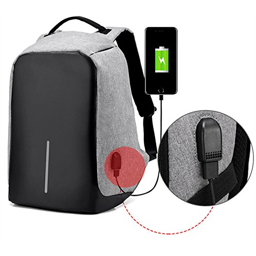 YingTech Business Anti-Theft Waterproof Laptop Backpack with USB Charging Port Fits 15.6 Inches Laptop and Notebook (Grey) ()