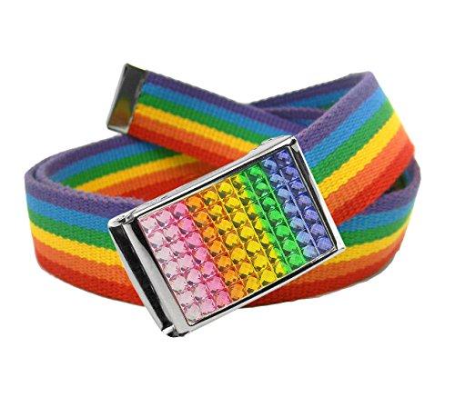 Girls School Uniform Sparkly Rainbow Crystal Flip Top Buckle with Canvas Web Belt Large Rainbow