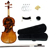Kinglos 4/4 Beethoven Carved Ebony Fitted Solid Wood Violin Kit with Case, Shoulder Rest, Bow, Rosin, Extra Bridge and Strings Full Size
