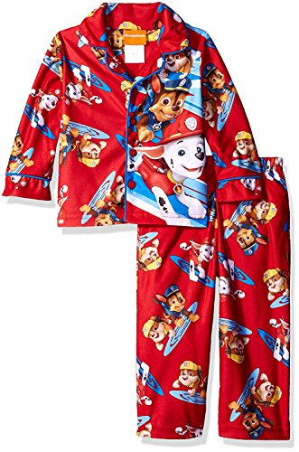 Paw Patrol Little Boys Flannel Coat Style Pajamas (3T, Re...