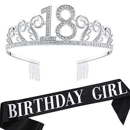 BABEYOND 18th Birthday Tiara and Sash Crystal Happy Birthday Crown and Satin Birthday Girl Sash 18th Birthday Party Supplies Rhinestone 18th Princess Crown and Glitter Sash (Set-3)]()