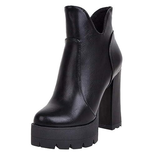 NIGHTCHERRY Mujer Tacon Ancho Tobillo Botas Cremallera: Amazon.es: Zapatos y complementos