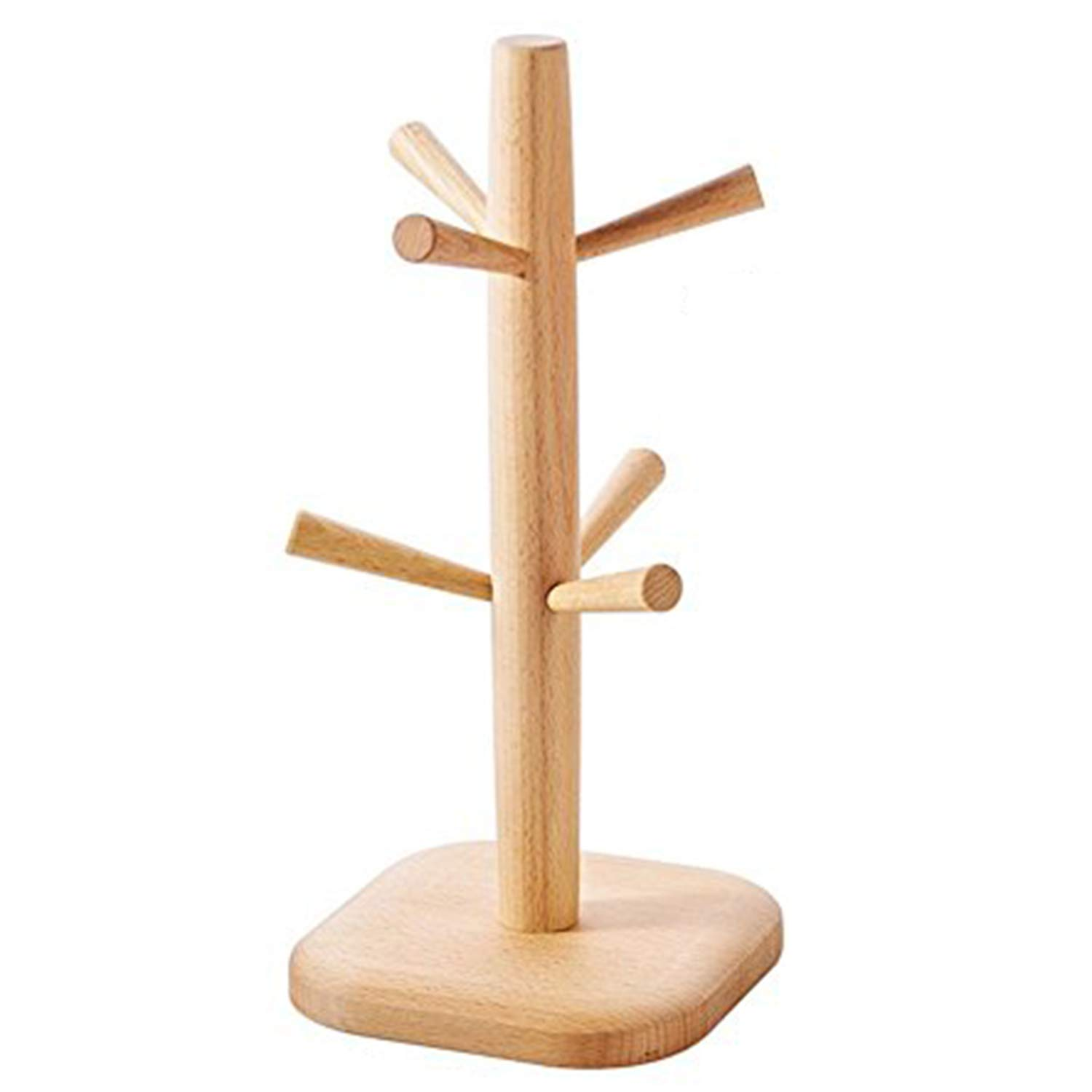 Party Bar. Wooden Cup / Mug Rack, 6 Hooks Coffee/Water Cups Drying Storage Holder Display Stand, Home Kitchen Collect Hanger Organizer, Great Idea For Housewarming (Square Bottom)