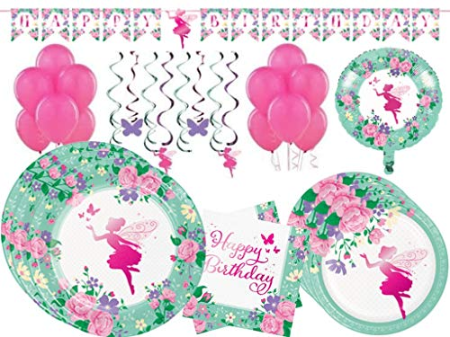 (Floral Fairy Sparkle Girls Birthday Party Supplies Tableware Kit and Decorations for 24 Guests)