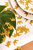 Key Spring Gold Confetti (200Pcs), Gold Crown Confetti, Table Confetti for Baby Shower, Wedding Decoration, Luau Decorations, Princess Party, DIY Cupcake Toppers