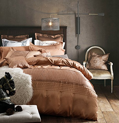 Solid Champagne Duvet Cover Set King Size Luxury European Style Bedding Set Romantic Wedding Duvet Cover Set with Delicate Pinch Pleated Design, Hotel Quality Autumn Winter Duvet Bedding Cover Set by FashionStreets