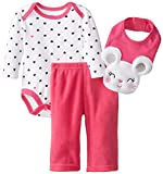 BON BEBE Baby Girls' 3 Piece Set with, Bodysuit, Pant and 3D Bib