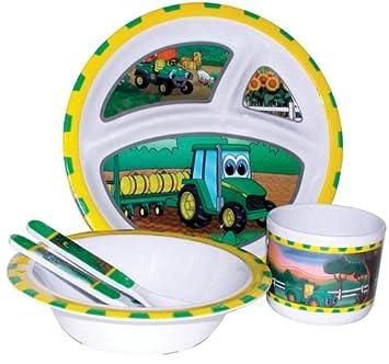 John Deere-Johnny Tractor and Friends 5-Piece Childrenu0027s Melamine Tableware Set  sc 1 st  Amazon.com & Amazon.com: John Deere-Johnny Tractor and Friends 5-Piece Childrenu0027s ...