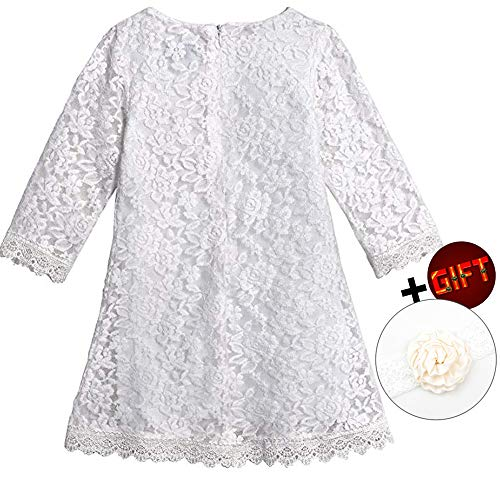 Big Dresses for Girls 7-16 Lace Flower Vintage Dress Size 9-10 Big Girl Halloween Christmas Party Pageant Dress Sleeveless Floor Length Bridesmaid Princess Dress for Juniors (White 170)