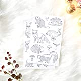 Forest Animal Stickers to Color In for Paper Crafts and Woodland Party Favors, 2 Sheets