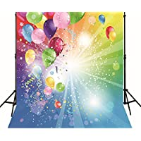 Generic Happy Birthday Photo Backdrop Colorful Balloons Cherr Ribbon Blue Green Children Party Background Printed Fabric Wallpaper for Booth Studio 3001