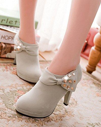 Invierno De Boots Tacón Zapatos Otoño Del Botines Bombas Botas Desnudo Las Bowknot Delgado Minetom Mujer Gris q80gtt