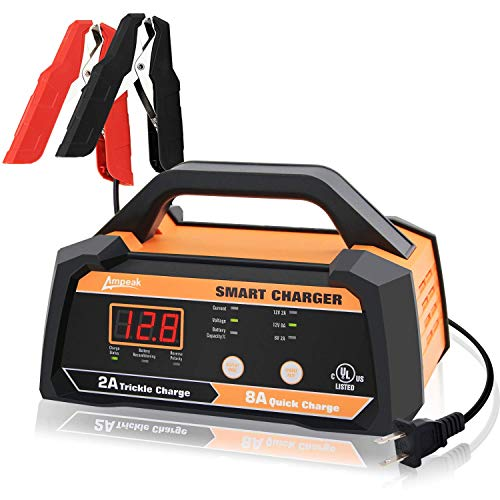 Ampeak 6V 12V Smart Car Battery Charger and Maintainer 2A 8A Fully Automatic with Cable Clamps (Best Rated Auto Battery)