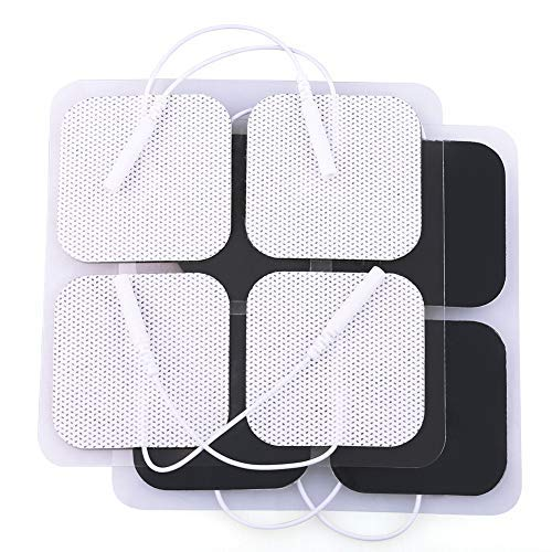 LotFancy 40PCS TENS Unit Electrode Pads Replacement for TENS EMS Massage, 2 Inch Square White Cloth Backing with Premium Adhesive Gel